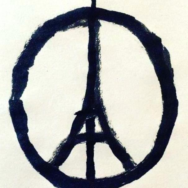 Fusión de la Torre Eiffel y el Símbolo de la Paz. Imagen retomada de Facebook.